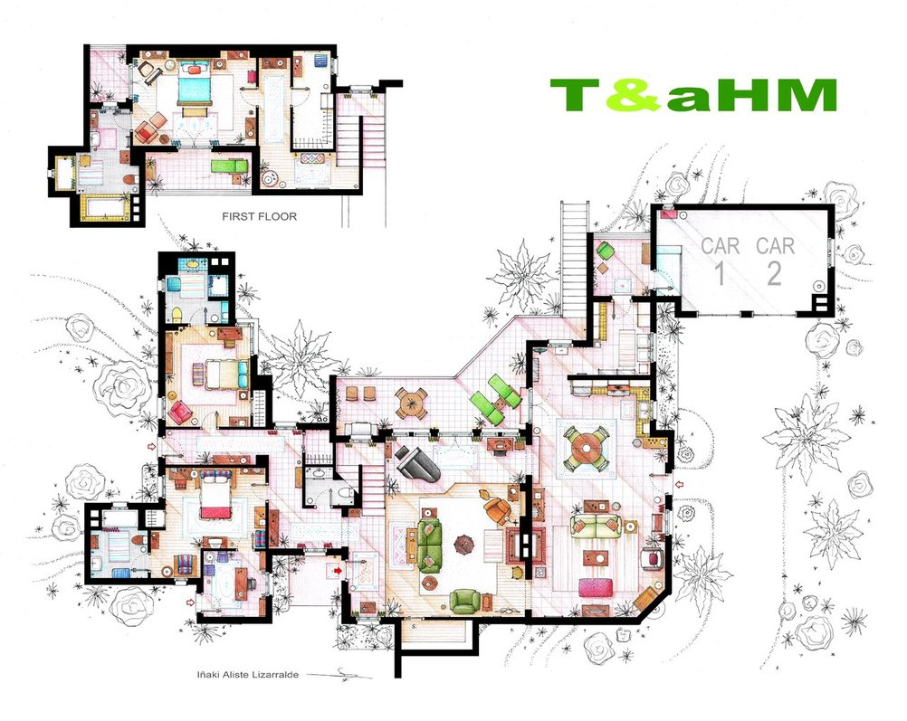 hand drawn floor plans of popular tv shows two and a half men