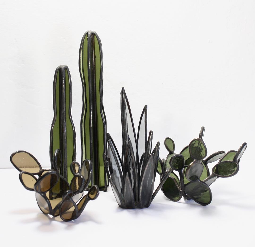 Stained Glass Cacti and Succulents By Lesley Green